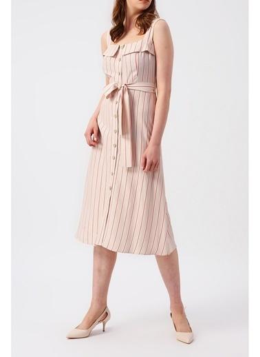 Random Kadın Çapraz Askılı Retro Midi Elbise Bej